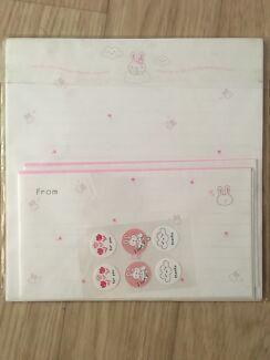 Pink bunny stationary set