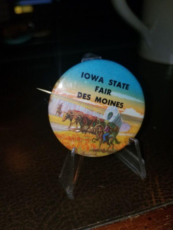 IOWA State Fair Vintage Souvenir Button Pinback Pin Stage Coach Pioneers 1950s