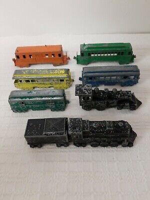 8 Vintage Metal Midgetoy Train Cars Made In Rockford Illinois