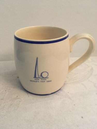 Very Rare 1939 NYWF SARREGUEMINES France White Mug Blue Trim Trylon Perisphere