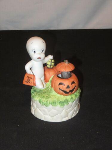 Casper The Ghost Music Box Mechanical Cat Pumpkin Halloween 1986 Figurine (Y750)