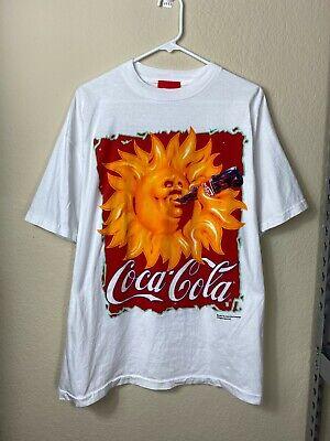 Mens XL Coca Cola 1995 White Red Sun Drinking Soda Promo Promotional Shirt VTG