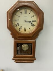 Verichron Quartz Westminster  School House Wall Clock Pendulum Chimes Oak