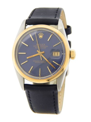 Rolex Datejust 16003 Mens 18k Gold & Stainless Steel Watch Blue Dial With Papers