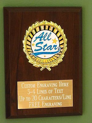 All Star Recognition Award Plaque 4x6 Trophy FREE - All Star Trophy