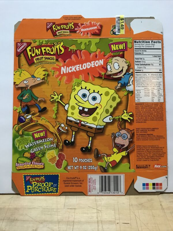 2002 Nabisco Fun Fruits Nickelodeon Empty Box Slime Switch Plate Zone SpongeBob
