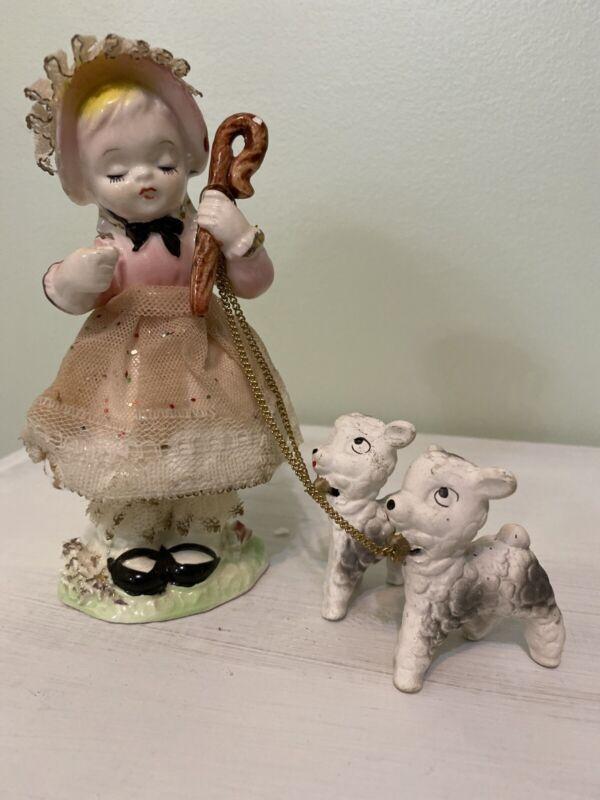 VINTAGE JAPAN SPAGHETTI PORCELAIN Little Bo Peep And Sheep ON A CHAIN