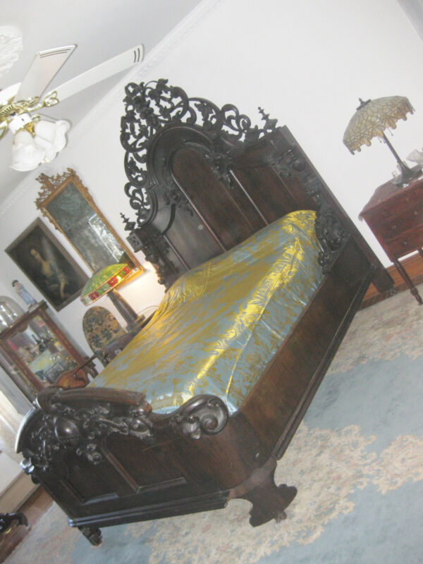 "AMERICAN RENAISSANCE CARVED WALNUT  BED  ca. 1865  93"" tall"