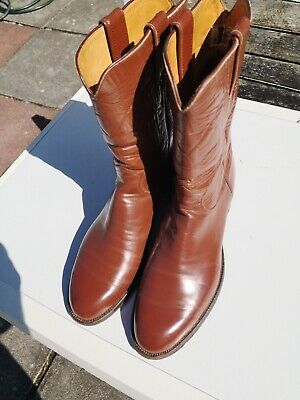Mens JUSTIN 100% Leather Brown Calf Length COWBOY Style Boots UK 10 (US 10.5)