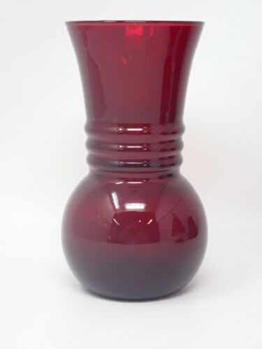 "Vintage 6"" Squat Ruby Red Ribbed Glass Table Vase"