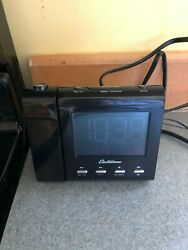 Black Electrohome Projection Alarm Clock with AM FM Radio