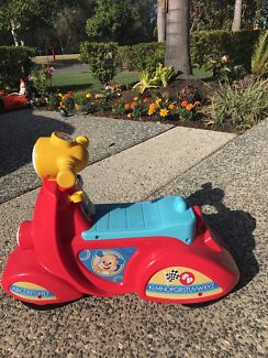 Fisher price scooter, fisher price door & basketball ring