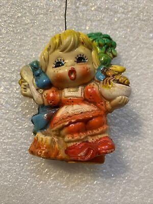 VTG Christmas Ornament Little Miss Muffet Japan plastic rare colorful Blow Mold
