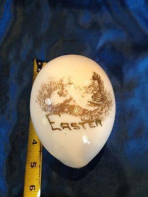 Large Antique Hand Blown Milk Glass Easter Egg ~ Hen Chicks