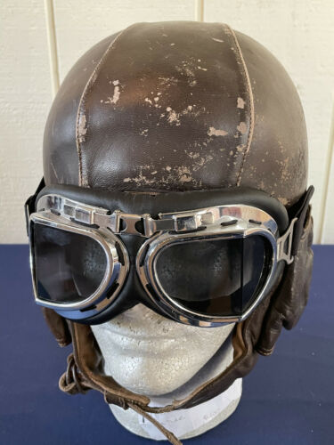 WWII Era 1939 French Leather Flying Helmet GUENEAU & Cie Casque Airaile type 11