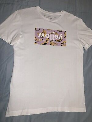 Zara Mens Graphic T Shirt, White. Size S