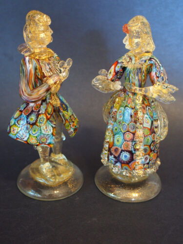 Pr (2) Vtg Venetian Millefiori Gold Adventurine Colonial Courting Couple Figures