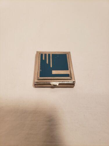 Vintage Art Deco Armand Mini Face Powder Compact, Silver Tone, Blue Design Front