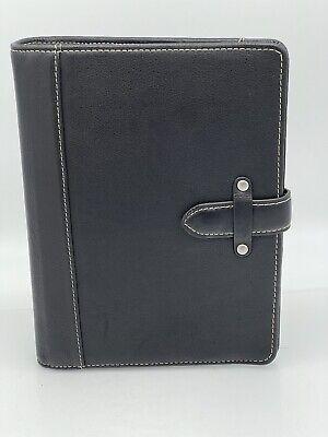 Vtg. Franklin Covey Aurora Classic Planner Binder Black Leather Magnetic