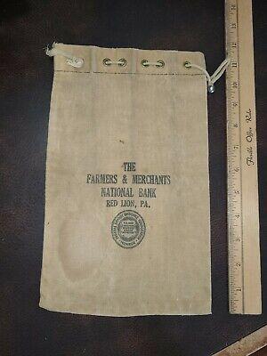 1920s Style Purses, Flapper Bags, Handbags 1920s Red Lion Pa Farmers & Merchants Bank Cloth Deposit Bag $12.99 AT vintagedancer.com