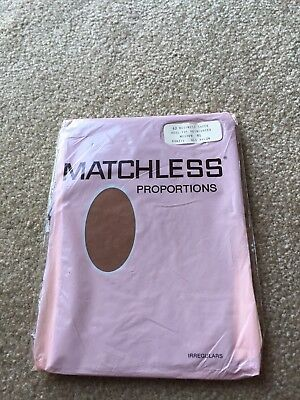 One pair vintage Matchless Garter stockings Flat Knit 9 1/2 Suntan