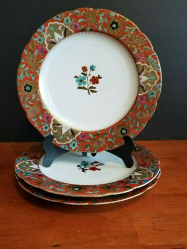"""3 ANTIQUE FISCHER & MIEG ROYAL VIENNA HAND PAINTED RED FLORAL PLATE 9.5"""" 1800"""