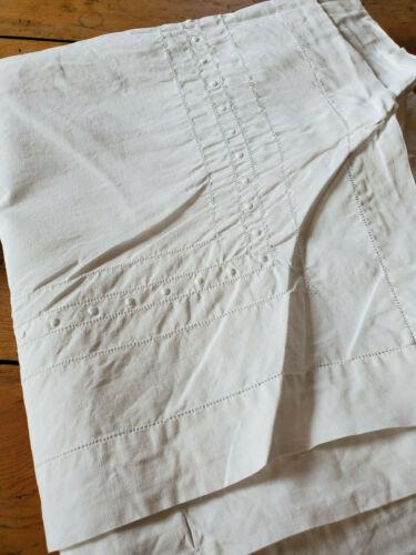 ANTIQUE Vtg LINEN Hemstitch Embroidered Sheet Blanket Cover Monogram S B 59x95