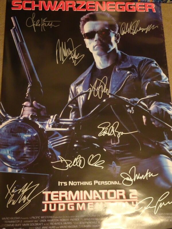 AWESOME Terminator 2 T2 signed Movie Poster 9 sigs!!! autographed Schwarzenegger