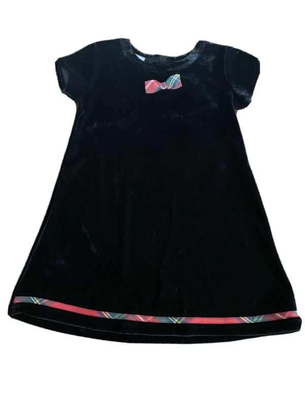 Blueberi Boulevard Girls Black Velour Dress with Red Holiday Plaid Size 2T NWT