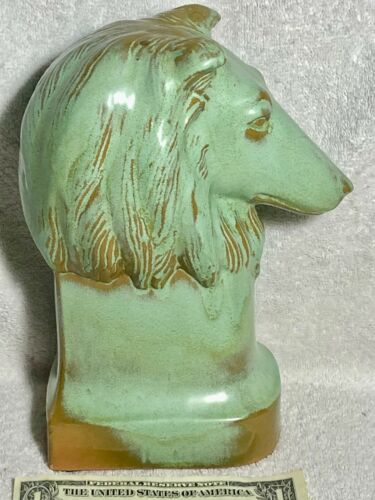 Frankoma #122LG Large Collie Head Prairie Green Red Clay 1955 Only Collie Club X