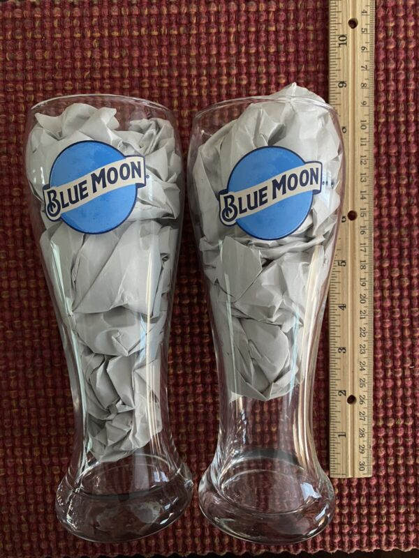 """(2) Blue Moon 8"""" Beer Glasses New FREE SHIPPING"""