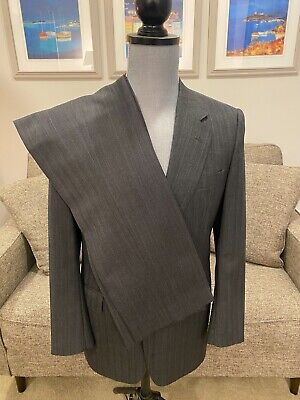 38R Gieves & Hawkes Savile Row London Gray SUIT Pleated 30 Made In Italy