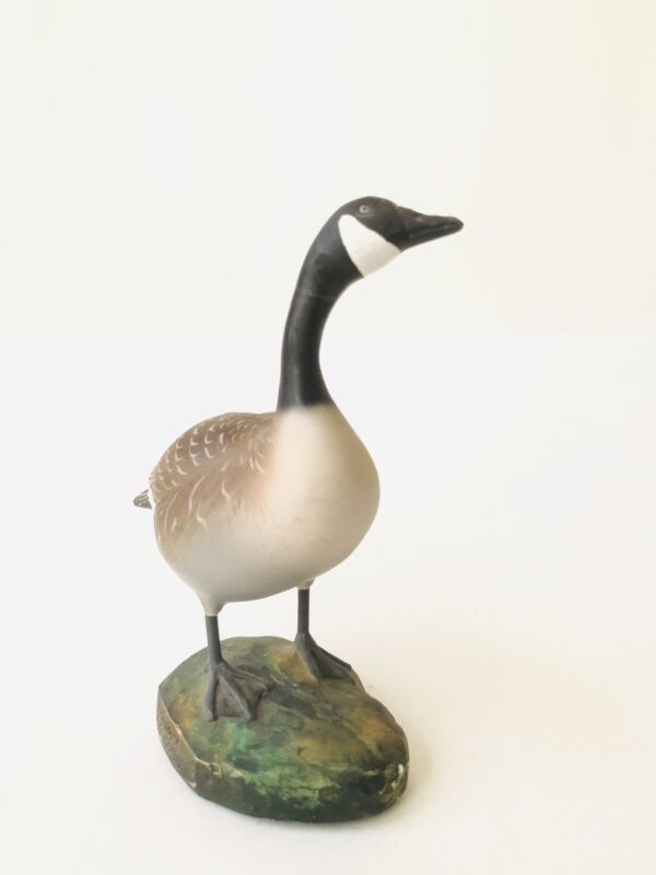 Canada Goose On A Rock Statue Signed