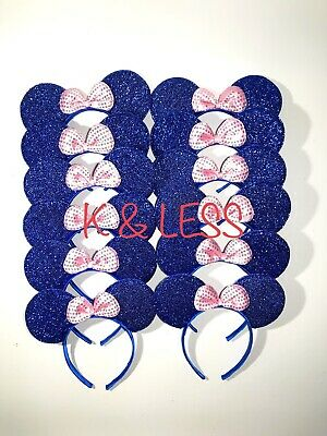 Minnie Mickey Mouse Ear Headband 24pc Shiny BLUE Pink Birthday Party Costume - Minnie Mouse Ears Diy