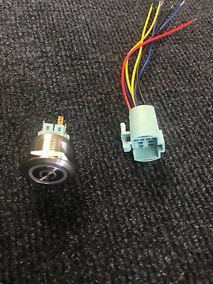 25mm 120V LED Momentary Button switch NC/NO with Connecting wire. Power Symbol