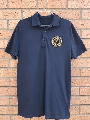 Versace Collection Navy Blue Medusa Polo Shirt Size M