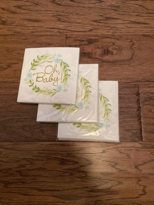 "3 ""oh, Baby"" Napkins 10 Count Each(30) Supplies - New. Boy"