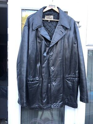 """ARMANI JEANS EU 56 3XL 28"""" PIT TO PIT SIMIN T LEATHER QUILTED COAT JACKET JJ"""