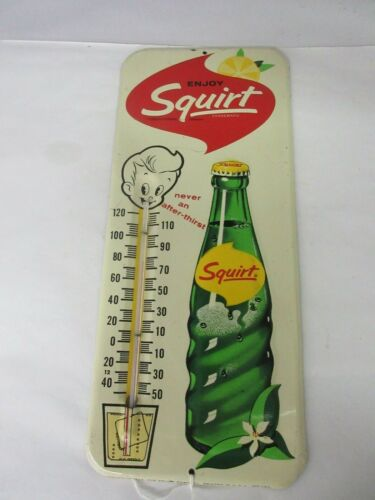 VINTAGE SQUIRT SODA  STORE THERMOMETER TIN DISPLAY  ADVERTISING    A-69