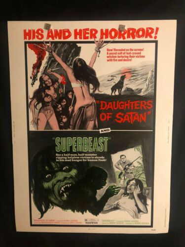 Daughters Of Satan/Superbeast 1972 30x40 Movie Poster Horror Sexploitation