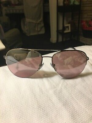 DKNY Women's Aviator Sunglasses Silver Frame, Blk Tips, Rose Blush (Dkny Aviators)