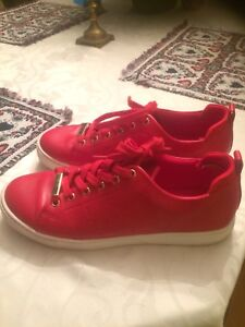 Red leather also sneakers size 8