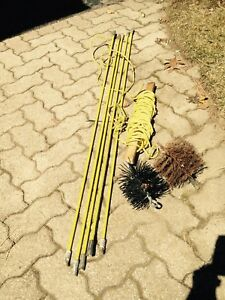 Chimney sweeping brushes and rods