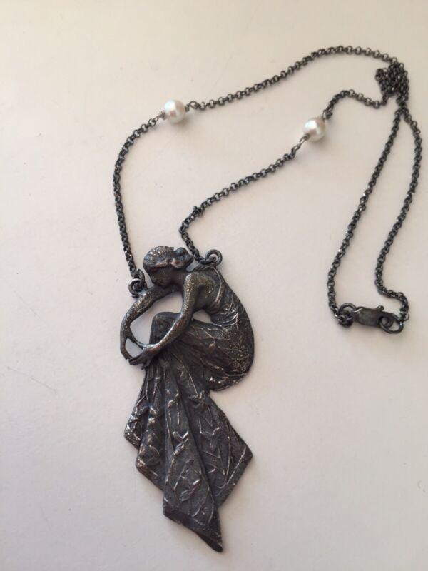 Antique Pendant Art Nouveau Sterling Silver Necklace Silver 925 Necklace