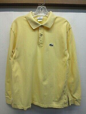 EUC Lacoste Yellow Long Sleeved 100% Cotton Pique Polo Shirt Size 4 US Medium