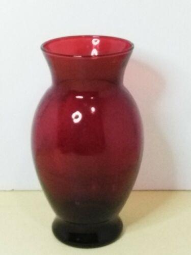 """Royal Ruby Red 6.5"""" Depression Glass Vase Vintage Anchor Hocking"""