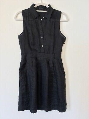 Theory Small Black Linen Dress Sleeveless Button Front (Sleeveless Button Front Dress)