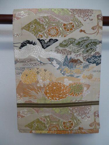 #5 Vintage Japanese Maru Obi,  Cranes, Chrysanthemums