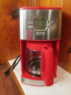 Hamilton Beach 12 Cup Programmable Coffee Maker Red Home Kitchen Pot 43253 EUC