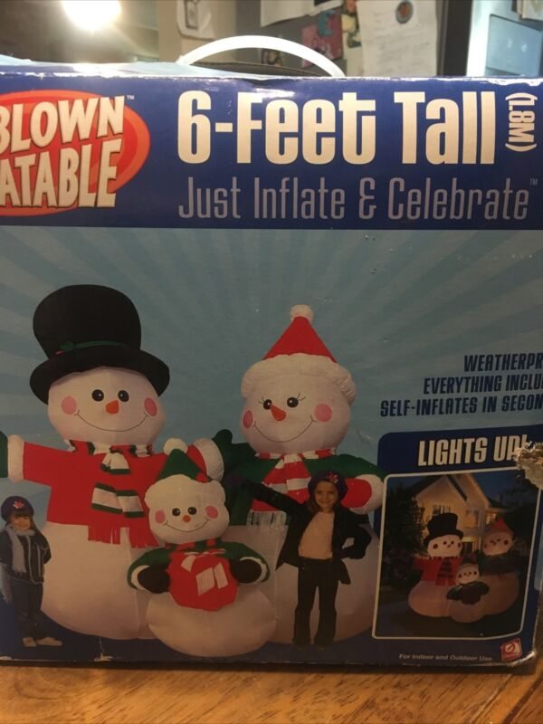 Gemmy Snowman Family 6FT Tall Airblown Inflatable Christmas Decoration